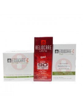 Heliocare Pack Gel Ultra SPF 90 50ml. + 7 Ampollas Endocare Oil Free + 3 Mascarillas Endocare C Peel